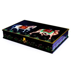 Oriental Camel & Horse Lacquered Jewel Box