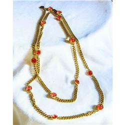 """Vintage French Designer GIVENCHY Pink Crystal Gold 40"""" Necklace"""