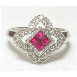 Ruby & Diamond 14kt White Gold Cocktail Ring