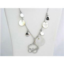 Vintage CACHAREL Sterling Silver Mother of Pearl Designer Charm Necklace