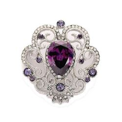 Purple Amesthyst Crystal Heat-shaped Lattice Costume Brooch