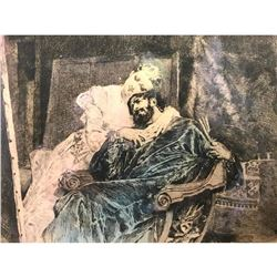 19thc Hand-colored Etching, Charles Courtry, Love