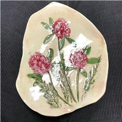 Hand-made Pink Clover Signed Ceramic Pin Dish Tray