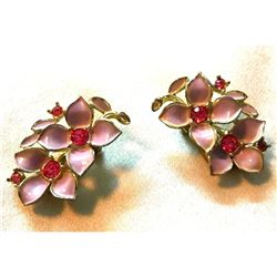 Vintage Sarah Coventry Pink Enamel & Crystal Floral Clip On Earrings