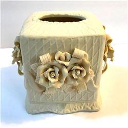 Vintage Bisque Porcelain Roses Tissue Cover