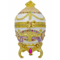 Russian Faberge Style Royal Bonbonniere Egg, Jewel Trinket Box