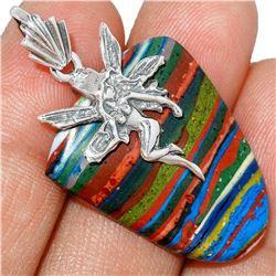 Rainbow Calsilica & Sterling Silver Fairy Pendant