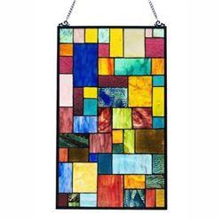 Modern Geometric Multi Media Stained Glass Hanging Window Panel