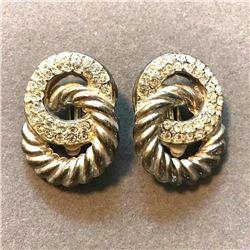 Vintage Crystal & Silver Tone Clip On Earrings
