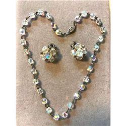 Vintage Mid Century Crystal Necklace & Earrings Set