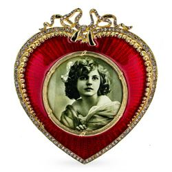 Lovely Red Heart Enameled Guilloche Russian Royal Picture Frame