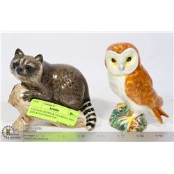 VINTAGE BESWICK FIGURINES OWL 2026 & RACCOON 2194
