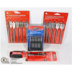 FLAT OF NEW TOOLS INCLUDING CRAFTSMAN PUSH AND