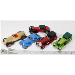 VINTAGE METAL 5 DIECAST OLD CARS