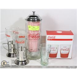 PAIR OF  COCA COLA FOUNTAIN GLASSES AND MATCHING