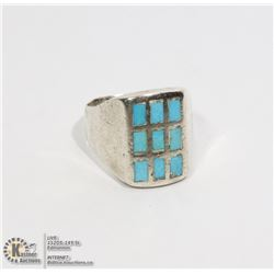 STERLING SILVER RING WITH TURQUOISE INLAY