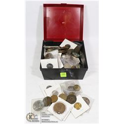 BOX, VINTAGE COIN COLLECTION SOME 100+  YEARS OLD