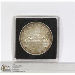 1952 GEORGE VI CANADA SILVER DOLLAR COIN