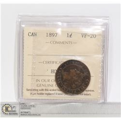 1897 CANADA ICCS CERTIFIED LARGE CENT VF20