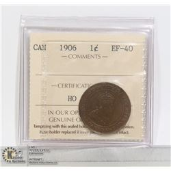 1906 CANADA ICCS CERTIFIED LARGE CENT EF40