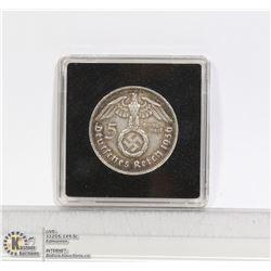 1936E NAZI GERMANY SILVER 5 MARK COIN