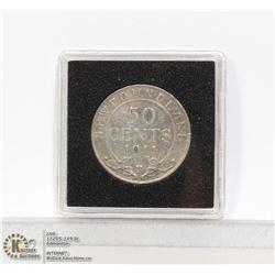 1911 NEWFOUNDLAND SILVER 50 CENT COIN
