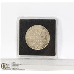1919 NEWFOUNDLAND SILVER 50 CENT COIN