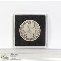 1907D USA SILVER BARBER 50 CENT COIN