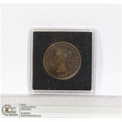 NEW BRUNSWICK HALF PENNY COIN 1843