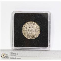 1917 NEWFOUNDLAND SILVER 25 CENT COIN