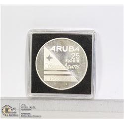 ARUBA 1991 25 FLORIN SILVER PROOF COIN