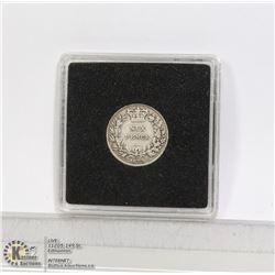1873 VICTORIAN ENGLISH SILVER 6 PENCE COIN