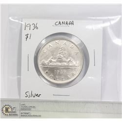 1936 SILVER CANADA $1 DOLLAR CLEANED COIN