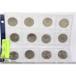 U.S. 50-CENT COINS- 12 ASSORTED DATES