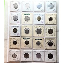 4)  LOT OF 16 GERMAN COINS WITH A RANGE OF