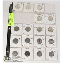 CANADA 25 CENT COIN COLLECTION WITH VARIETIES
