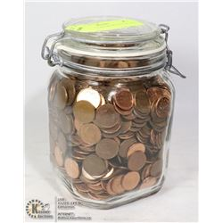 OLD JAR FILLED WITH OLD CANADA PENNIES
