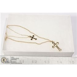 GOLD TONE DOUBLE CROSS FASHION NECKLACE