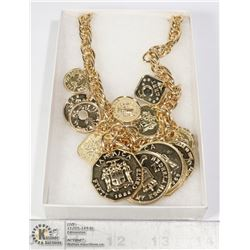 GOLD TONE COIN STYLE FASHION NECKLACE