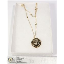 GOLD TONE ROMAN COIN STYLE NECKLACE