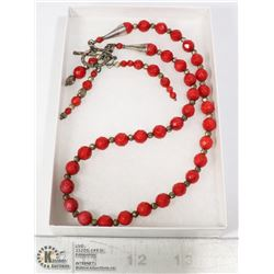 RED CORAL SILVER TONE FASHION JEWELRY