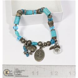 SILVER TONE TURQUOISE BEADS TYPE BRACELET
