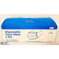BOX OF 50 3PLY DISPOSABLE MASKS