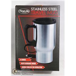 NEW 14-OZ STAINLESS STEEL HEATED TRAVEL MUG
