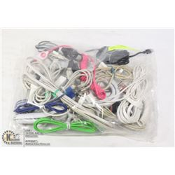 LARGE BAG W/22 APPLE CHARGER CORDS
