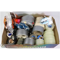 BOX WITH 35+ ROLLS OF TAPE - NEW CLEAR