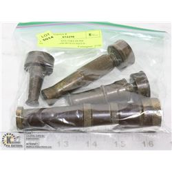 VINTAGE BRASS FIREHOSE NOZZLES- ASSORTED SIZES-