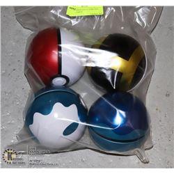 X4 POKEMON COLLECTORS TINS, BALLS, EMPTY