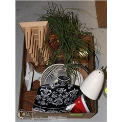 BOX OF HOUSEHOLD ITEMS INCL. LARGE TABLE