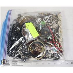 BAG OF COSTUME JEWELRY WITH WATCHES, BRACELETS